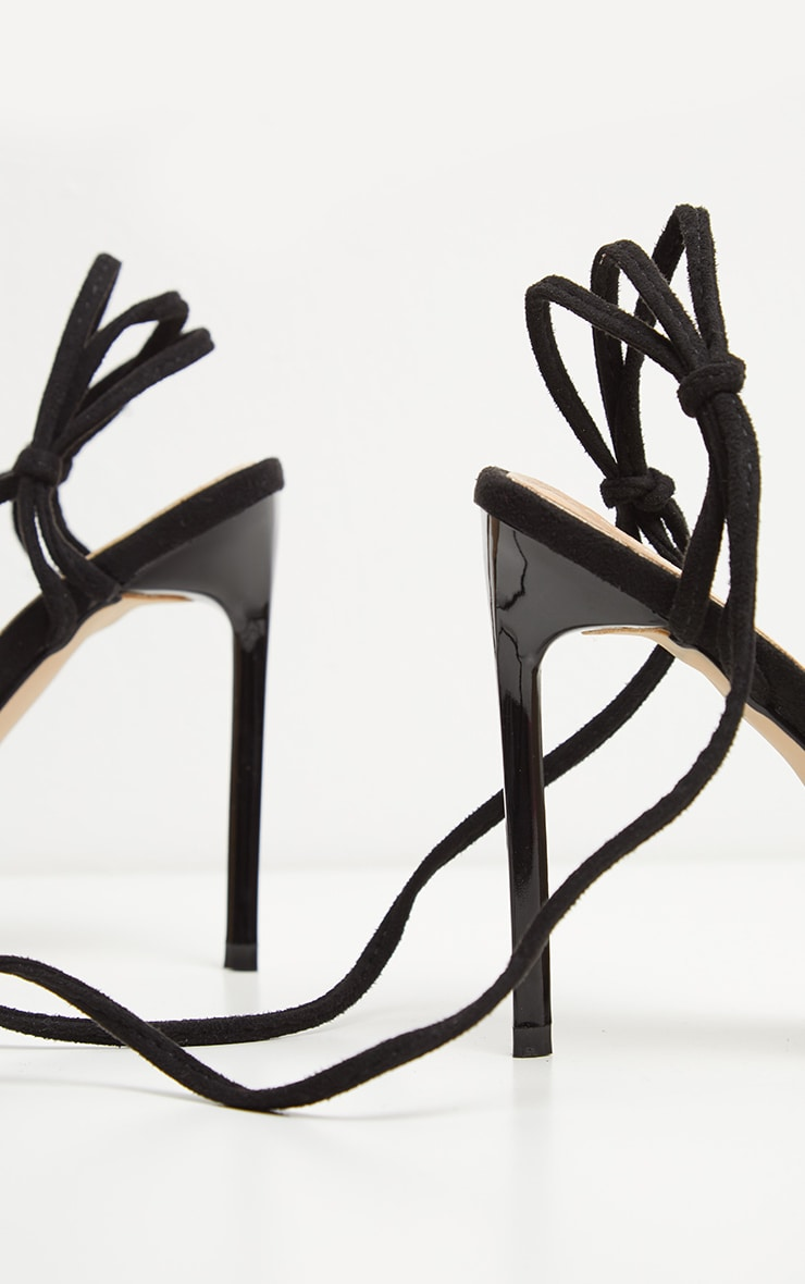Black Knot Lace Up Strappy Sandal 4