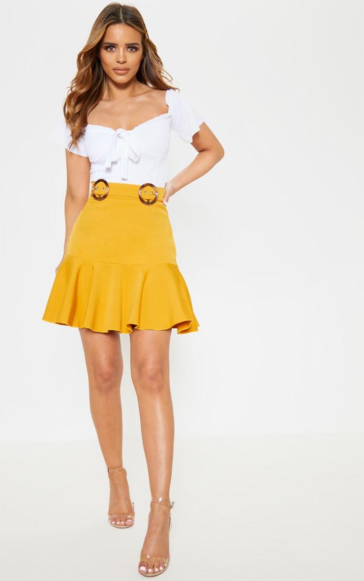 Petite Mustard Peplum Hem Tortoise Belt Skirt 5