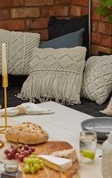 Cream Macrame Fringe Filled Cushion 1