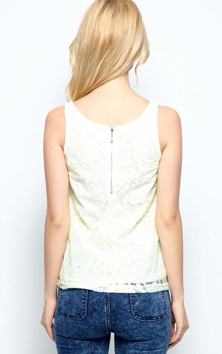 Stacy White & Neon Green Lace Vest 2