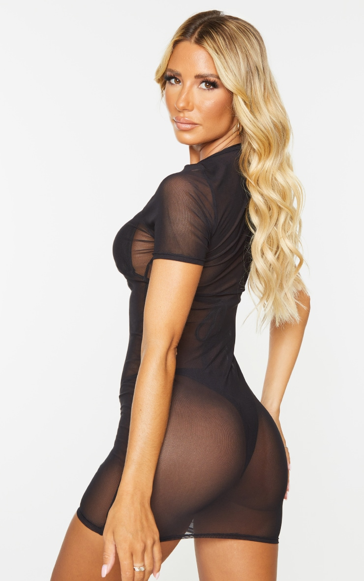Black Mesh Lace Up Beach Dress 2
