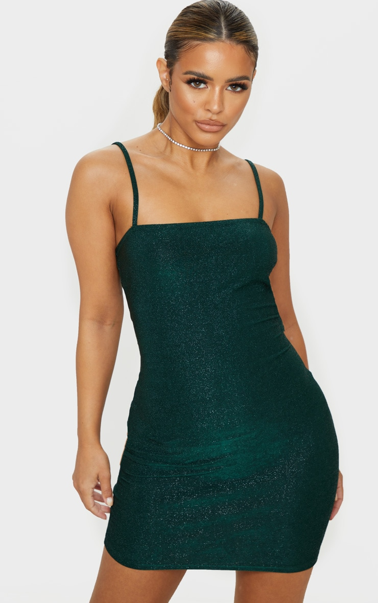 Petite Emerald Green Textured Glitter Square Neck Bodycon Dress 1