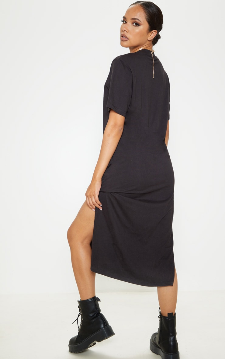 Black Split Side Midi T Shirt Dress 2