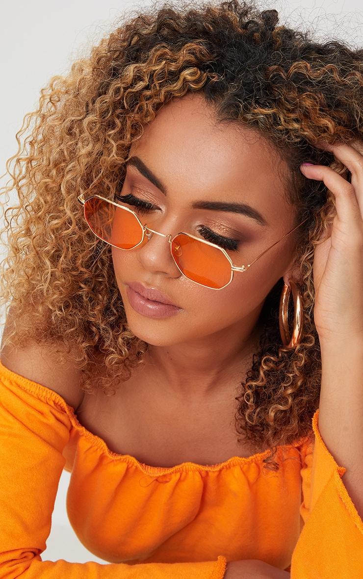 Orange Hexagon Retro Sunglasses image 1