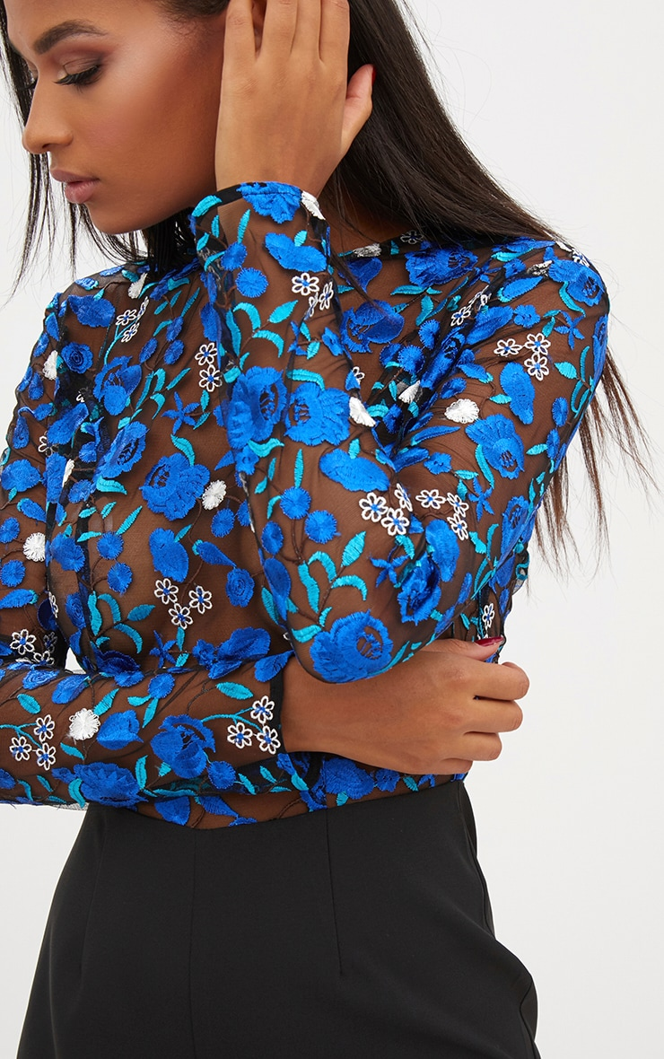 Cobalt Long Sleeve Embroidered Playsuit 5
