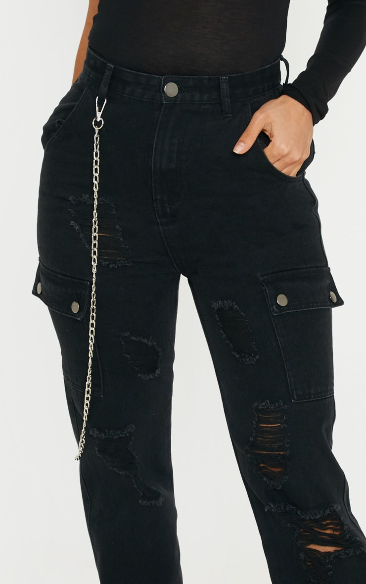 Black Distressed Cargo Pocket Jeans 5