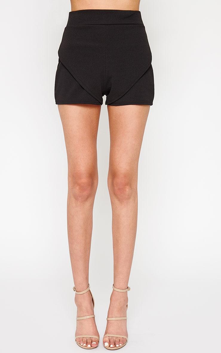Devon Black Wrap Detail Shorts 2