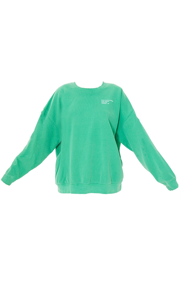 PRETTYLITTLETHING Green Luxe Good Small Print Text Sweat 5