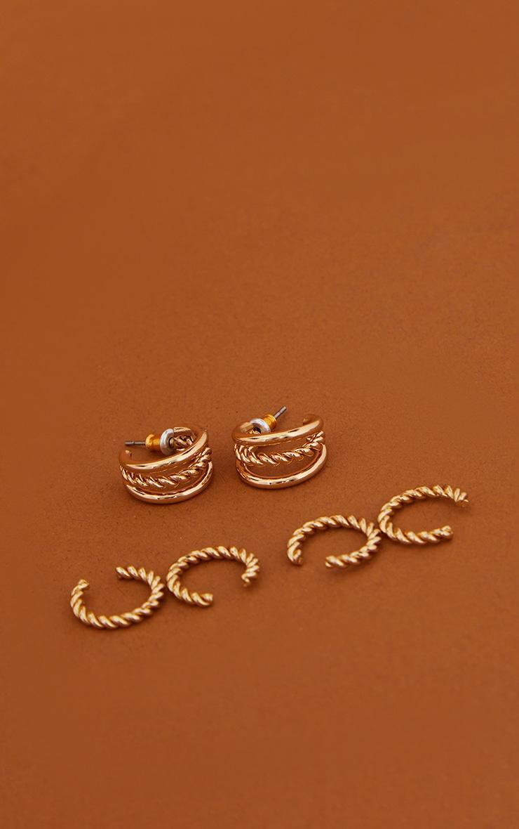 Gold Gold 3 Pack Assorted Twist Hoop Earrings 1