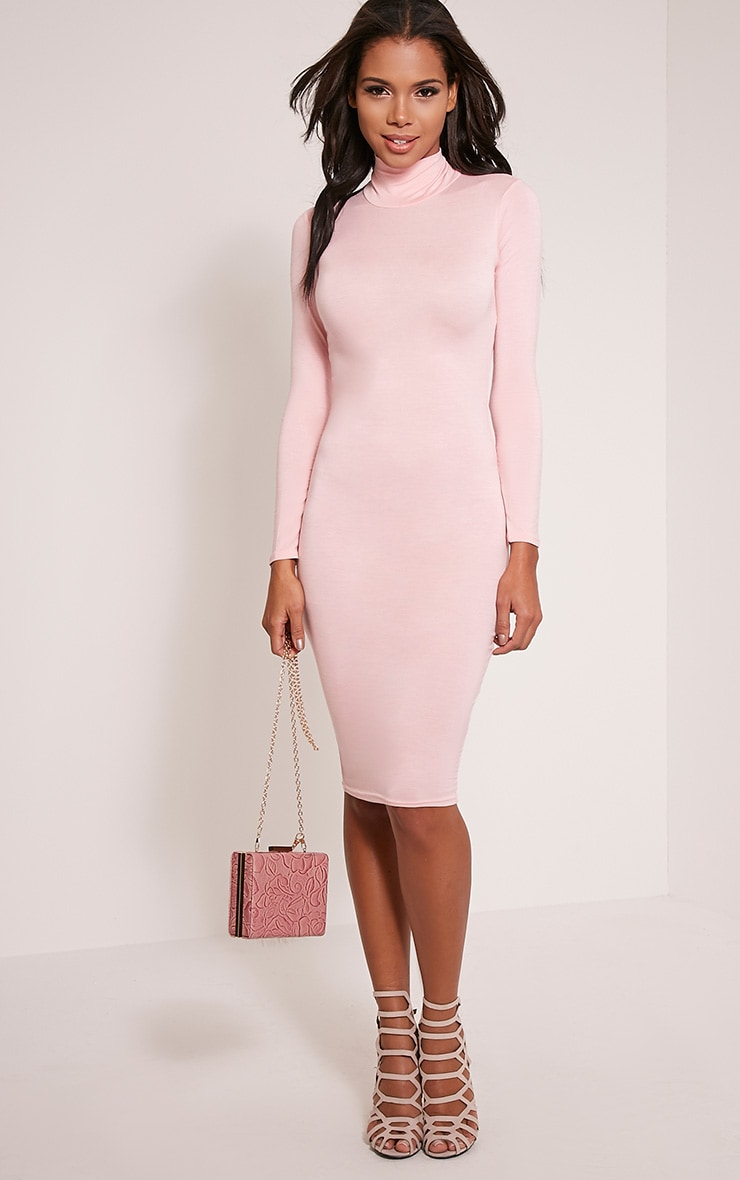 Basic Candy Pink Roll Neck Midi Dress 1
