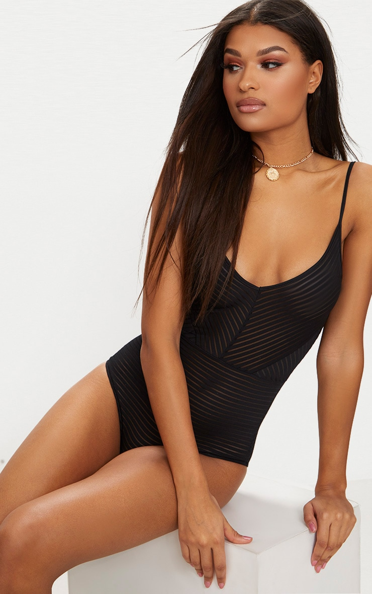 Black Chevron Mesh Thong Bodysuit  2