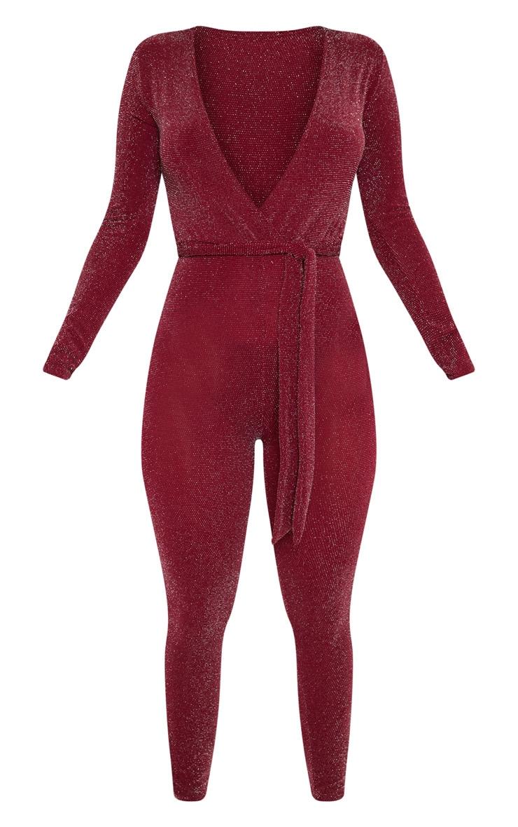 Burgundy Textured Glitter Tie Waist Jumpsuit 3
