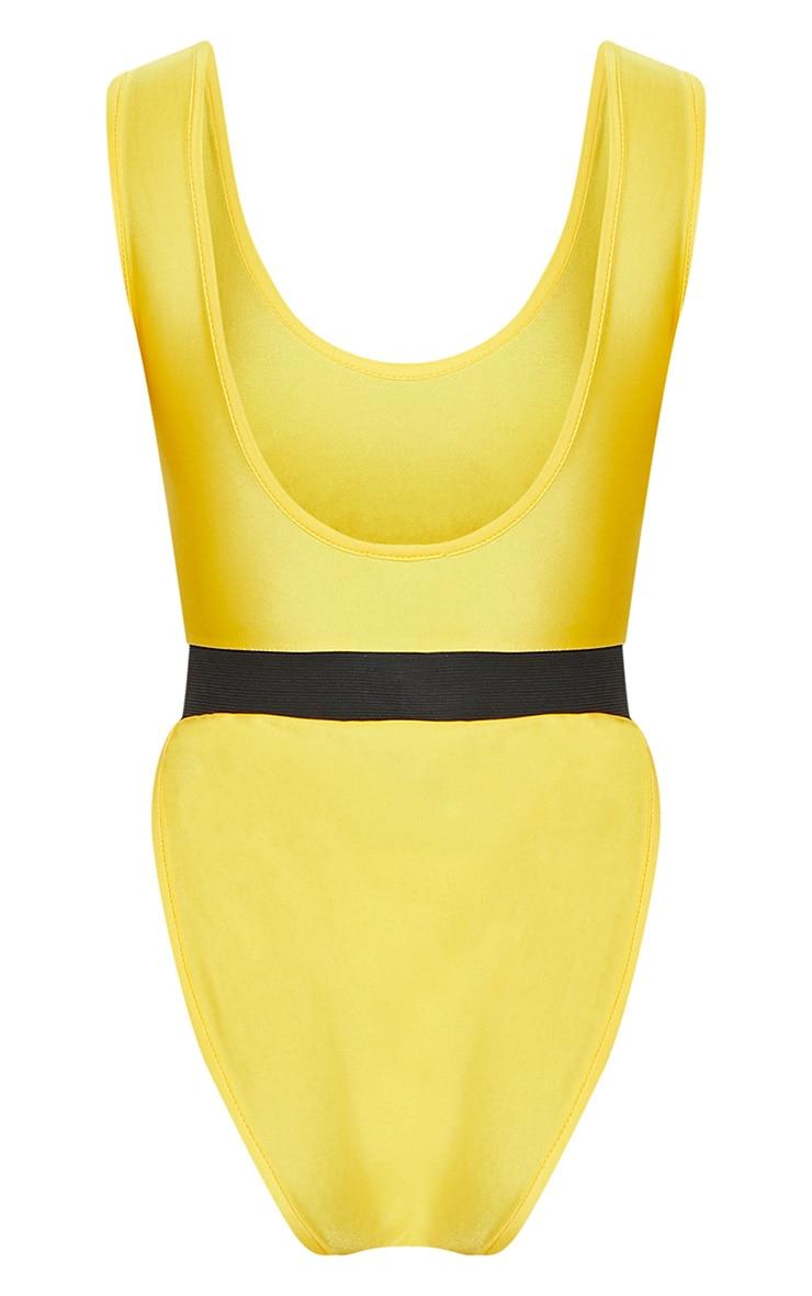 Yellow Elastic Waist High Leg Swimsuit 4