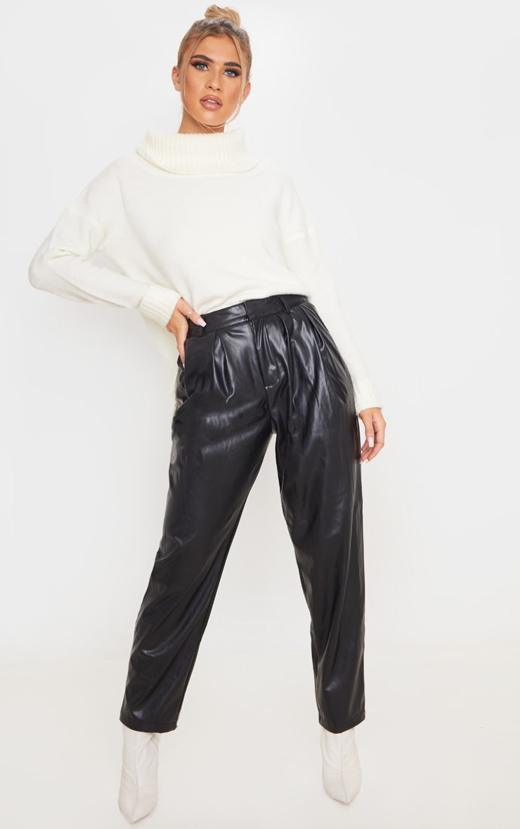 Black Faux Leather Pleat Cigarette Pants 1