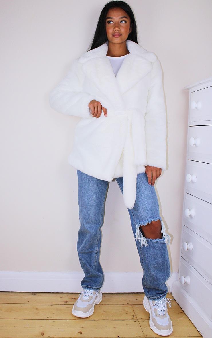 Petite Cream Faux Fur Belted Coat 3