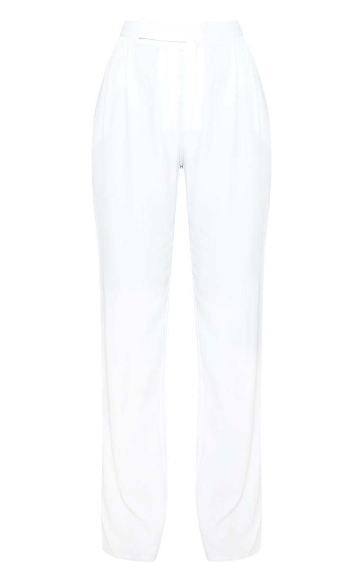 White Woven Pleat Detail Straight Leg Trouser 3