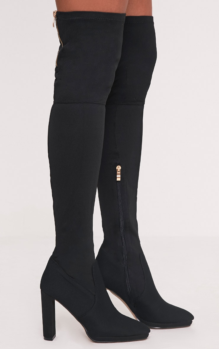 Riyah Black Knitted Pointy Thigh High Sock Boots 3