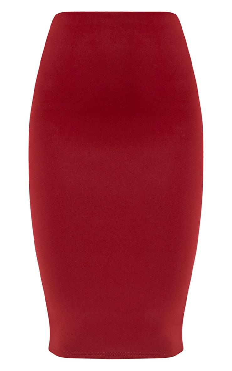 Petite Winnie Burgundy Scuba Midi Skirt 3