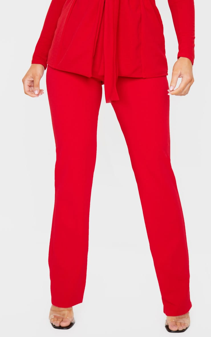 Red Straight Leg Suit Pants 2