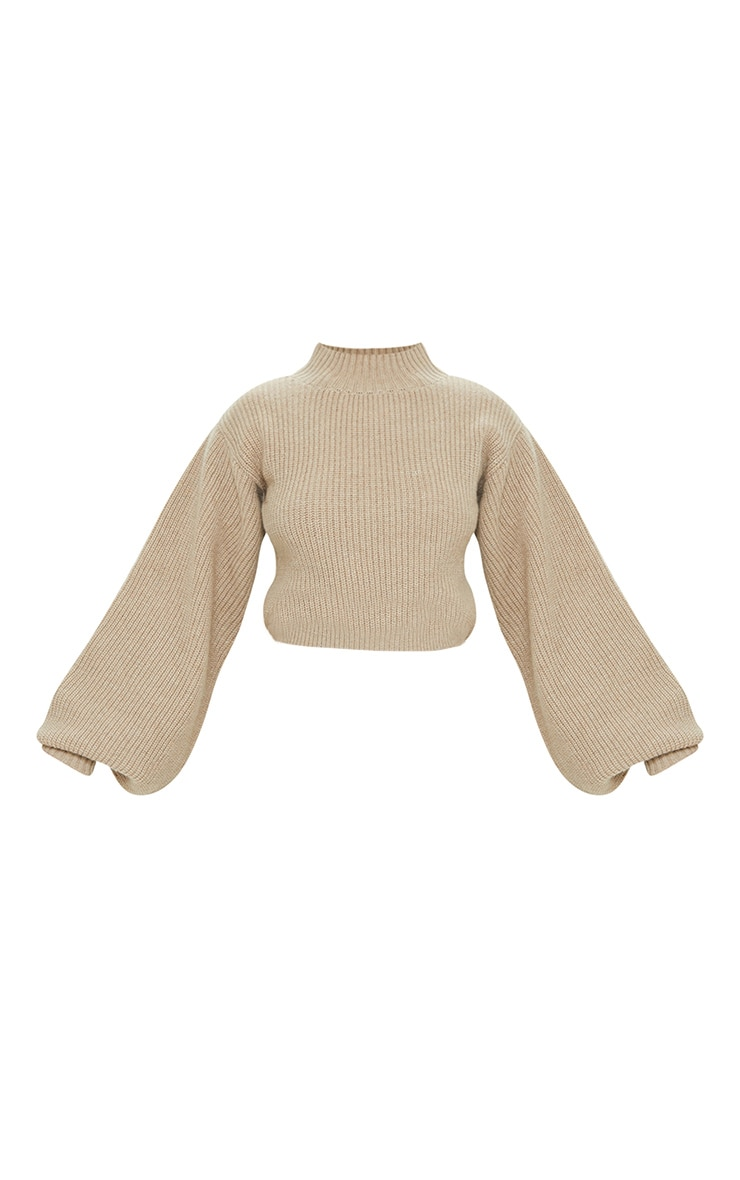 Petite Stone Oversized Balloon Sleeve Knitted Crop Sweater 5