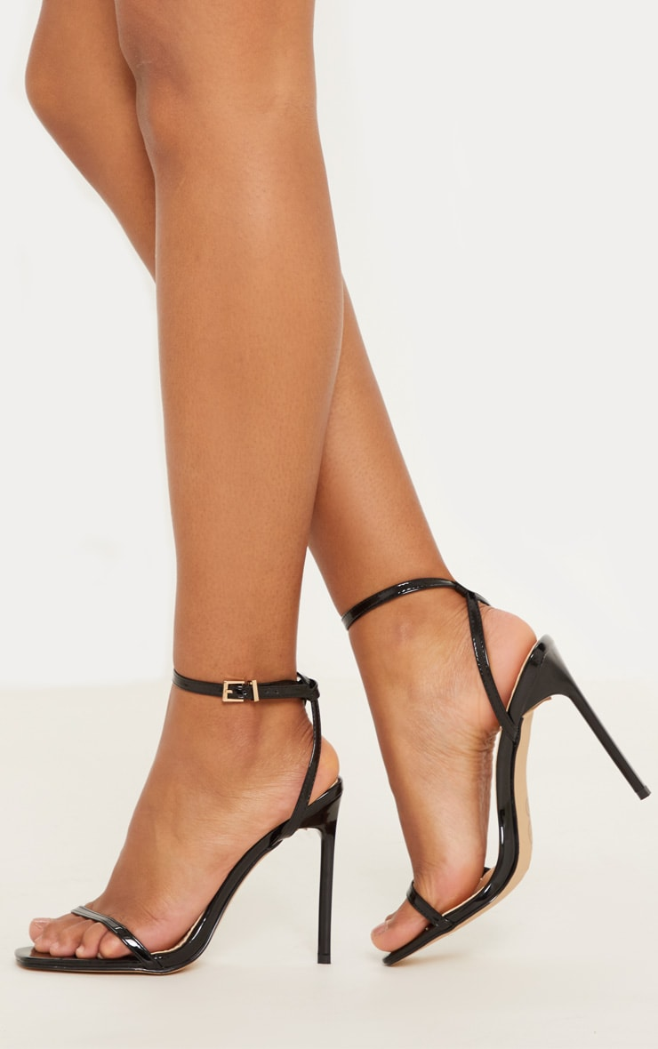 Black Square Toe Strappy Sandal 1