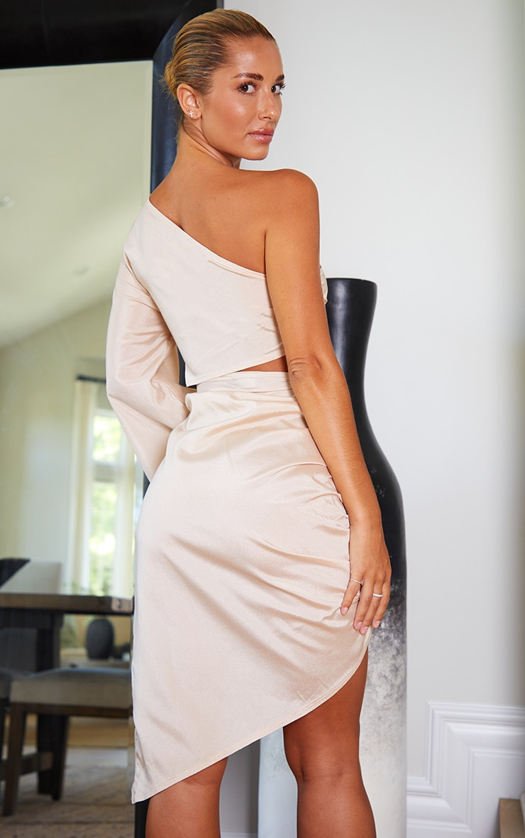 Champagne One Shoulder Cut Waist Out Ruched Bodycon Dress 2