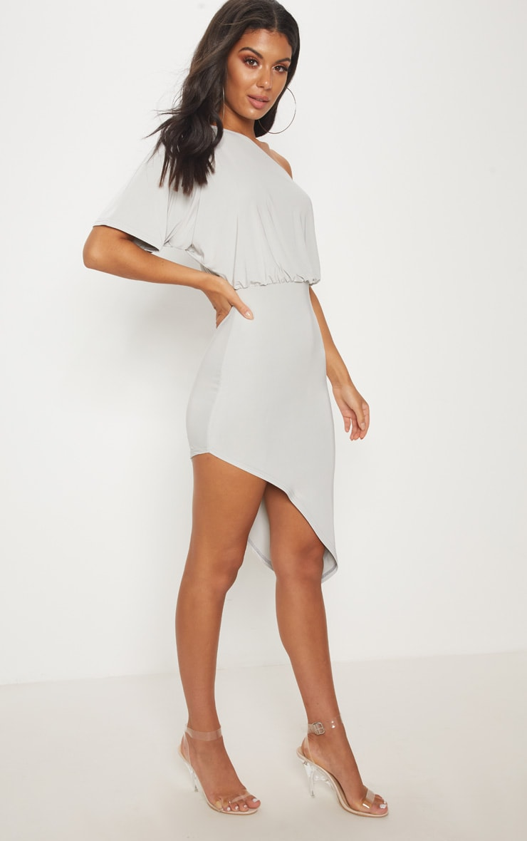 Ice Grey Drape One Shoulder Asymmetric Midi Dress 4