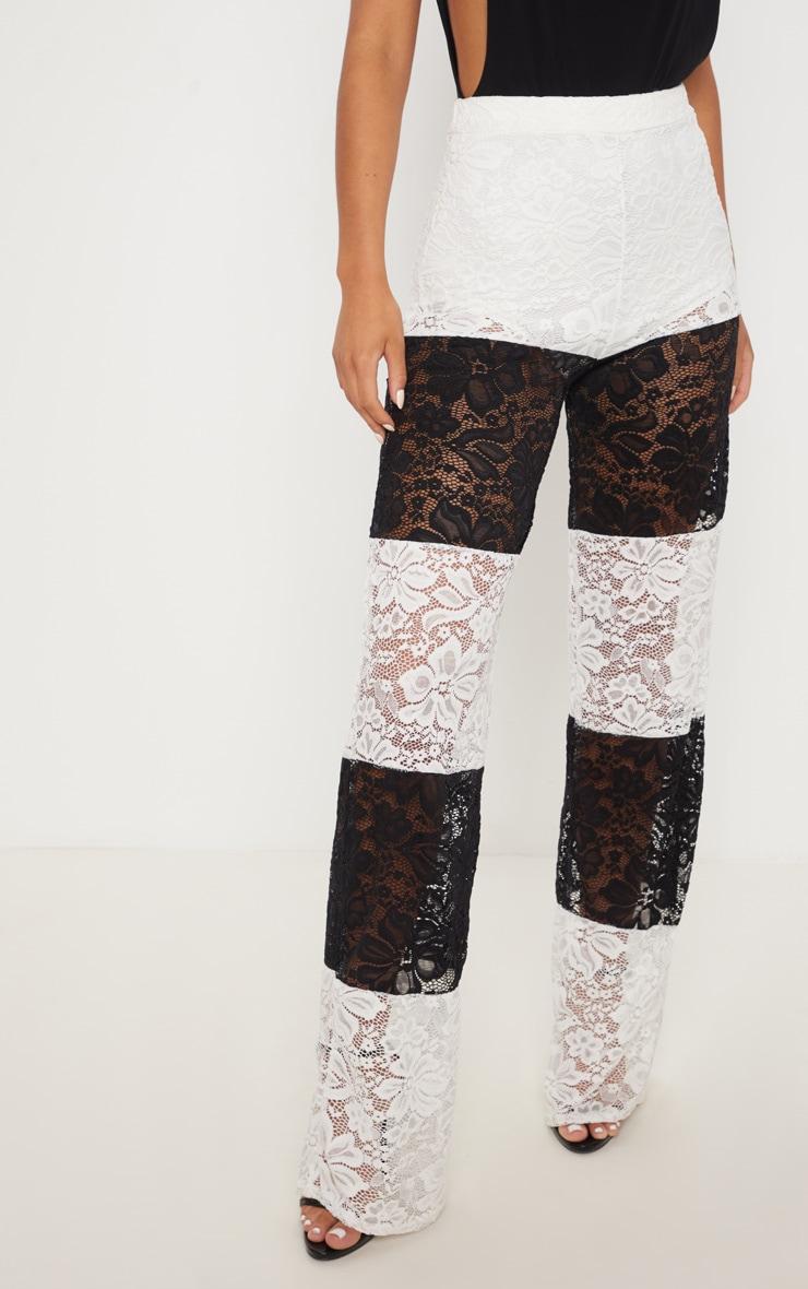 Black Colour Block Stripe Lace Wide Leg Trouser 2