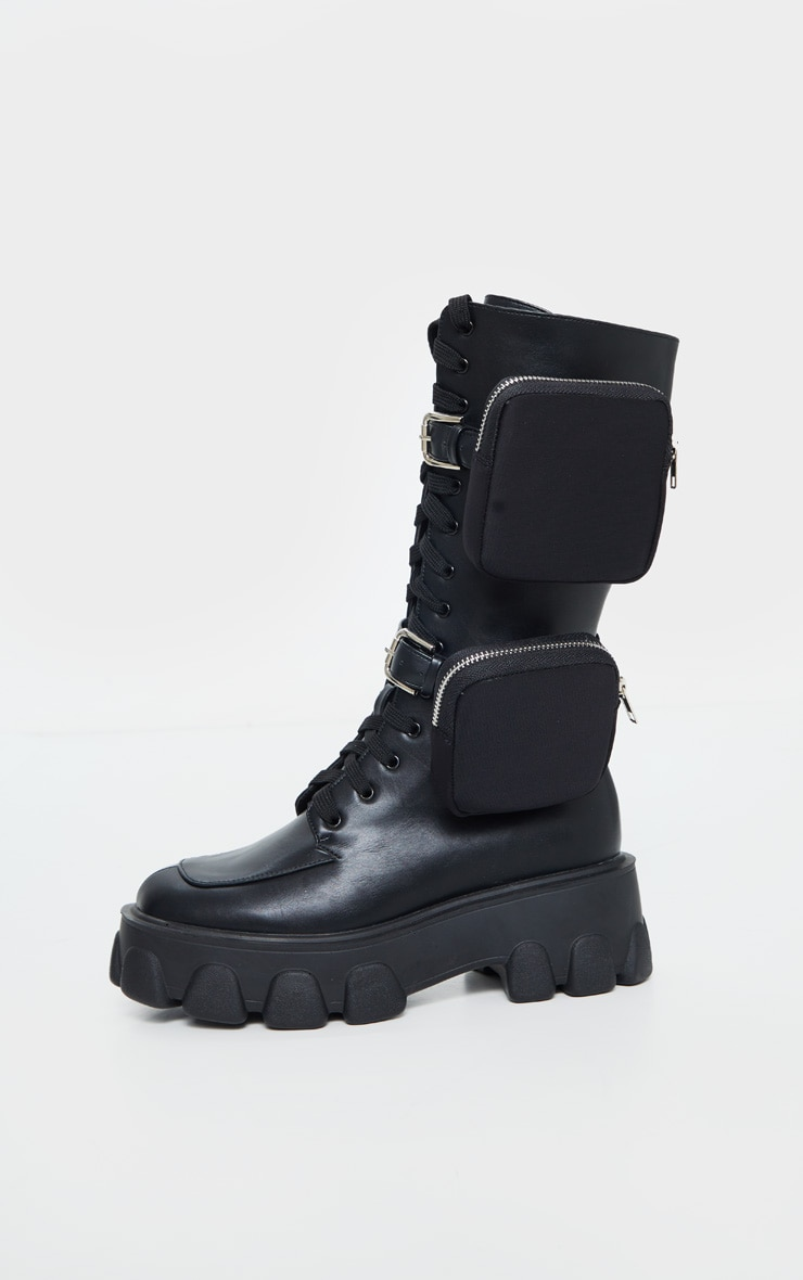 Black Double Pocket Trim Lace Up Extreme Cleated Sole Biker Boot 4
