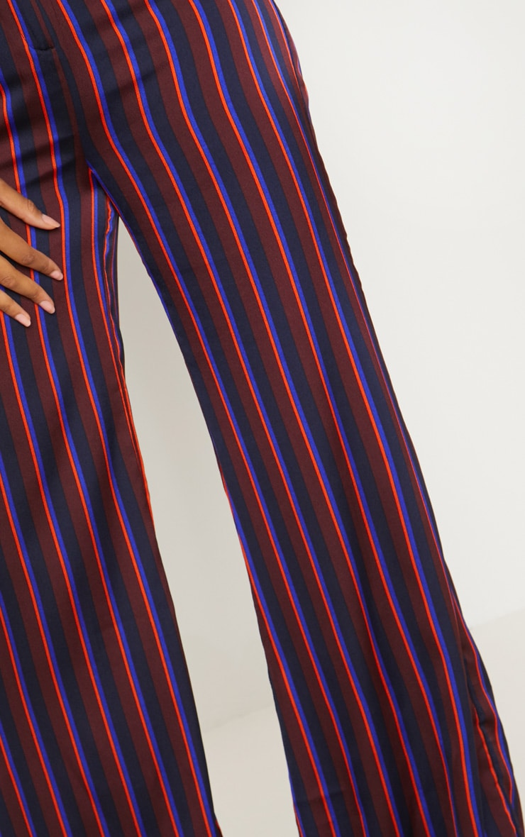 Burgundy Stripe Wide Leg Suit Pants 5
