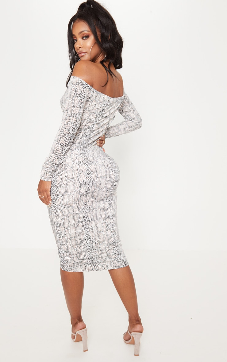 Shape Taupe Snake Print Slinky Ruched Bardot Midi Dress 2