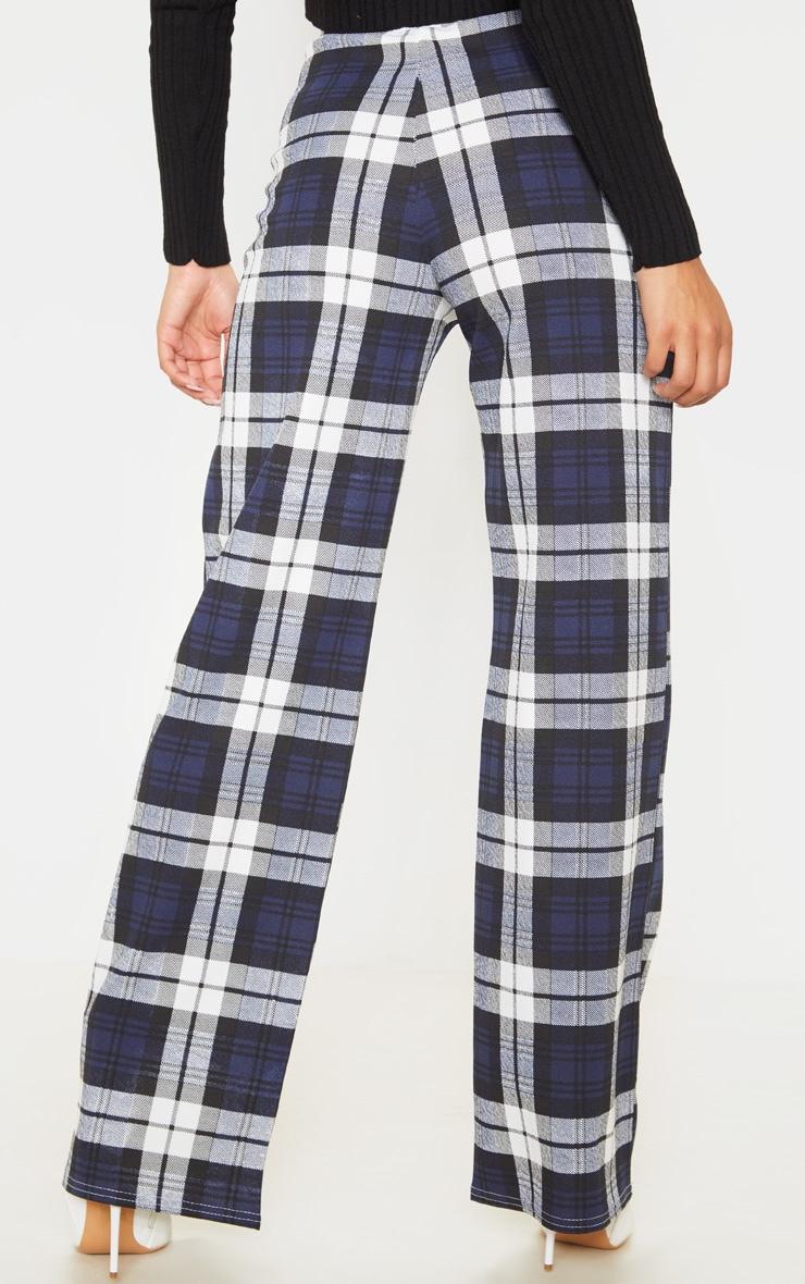 Blue Crepe Check Wide Leg Pants 4