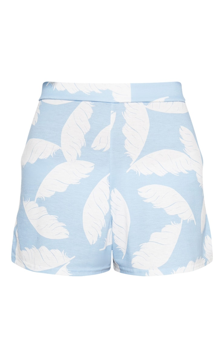 Dusty Blue Palm Print High Waisted Shorts 3