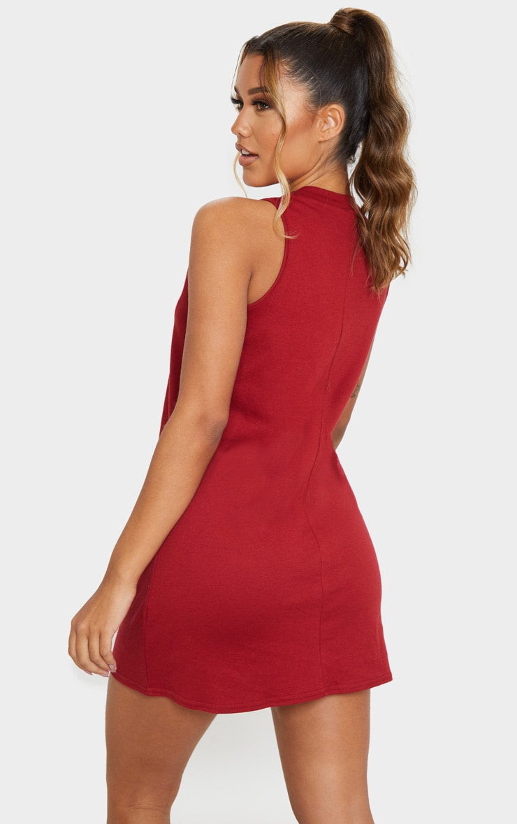 Burgundy Sleeveless Oversized T Shirt Dress 2