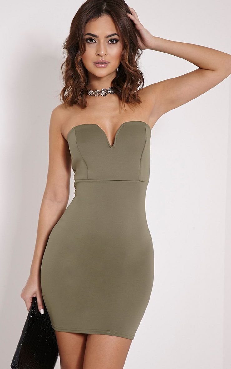 Michelle Khaki Bandeau Dress 1