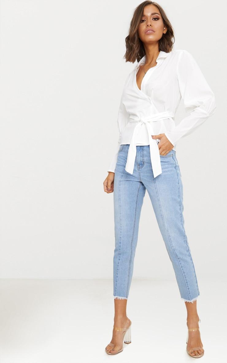 White Tie Waist Plunge Shirt 4