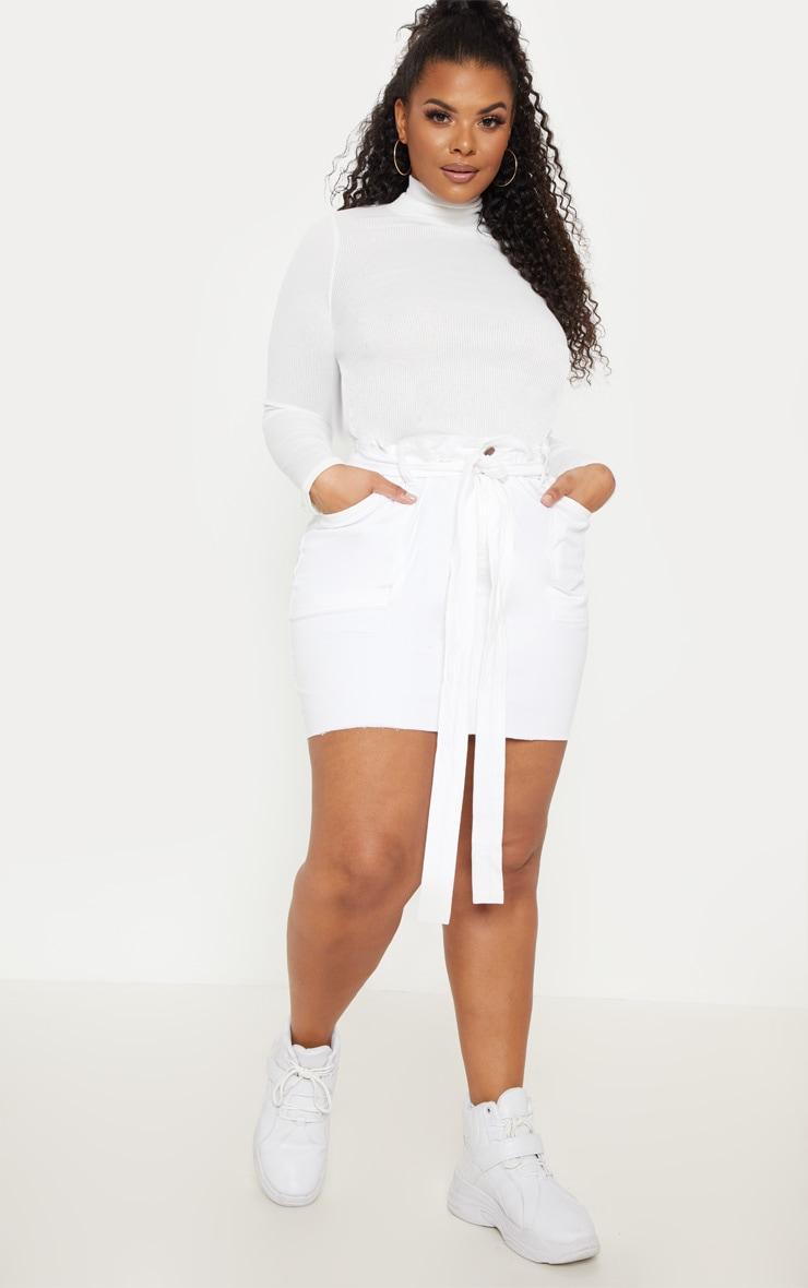 Plus White Belt Detail Fray Hem Denim Skirt  1