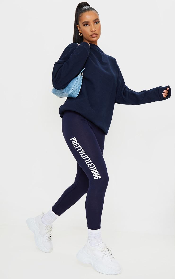 PRETTYLITTLETHING Navy Logo Leggings