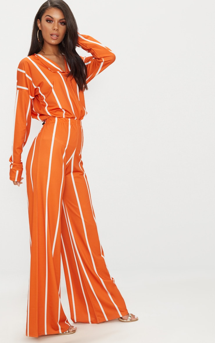 Orange Stripe Jersey Wide Leg Pants 1