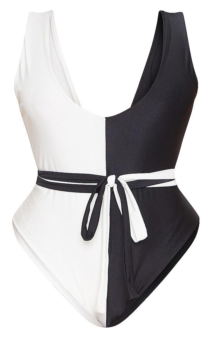Plus  Monochrome Two Tone Tie Waist Swimsuit 3