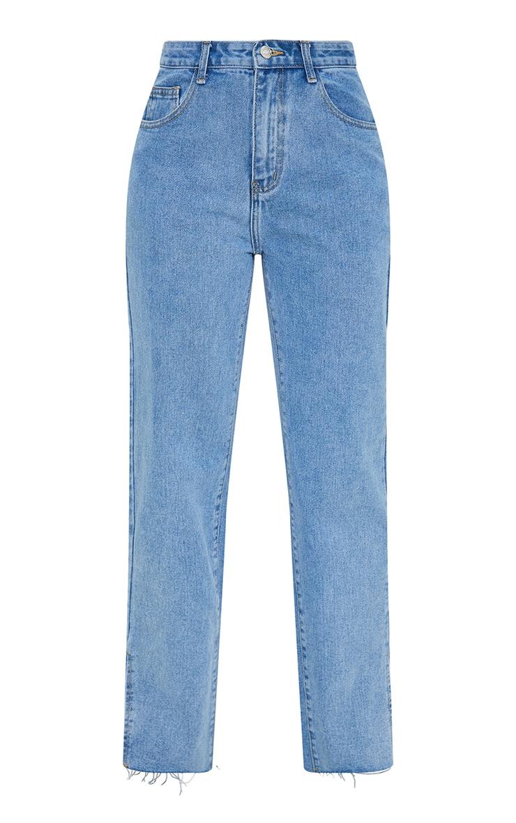 Mid Blue Wash Raw Hem Split Hem Jeans 5