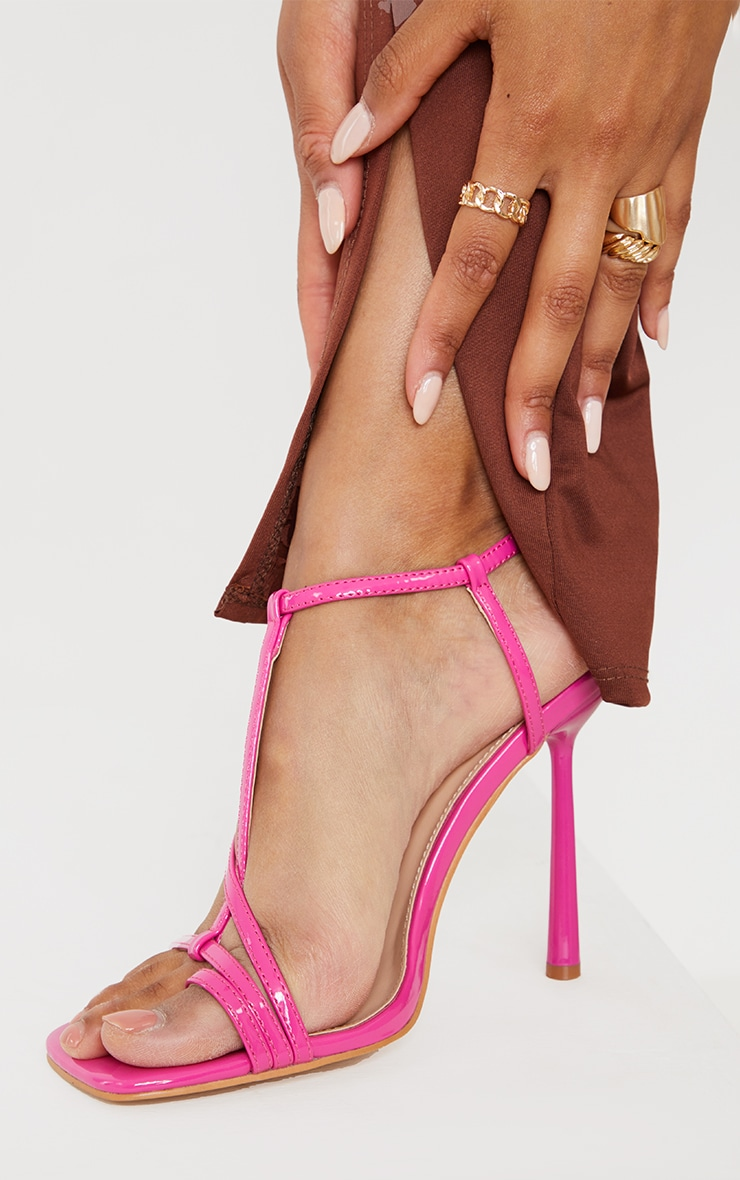 Pink Patent Toe Loop Strappy Heeled Sandals 2