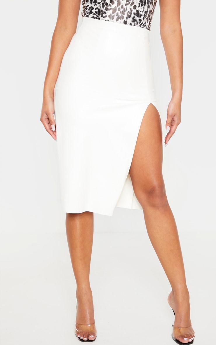 White Faux Leather Extreme Split Midi Skirt 2