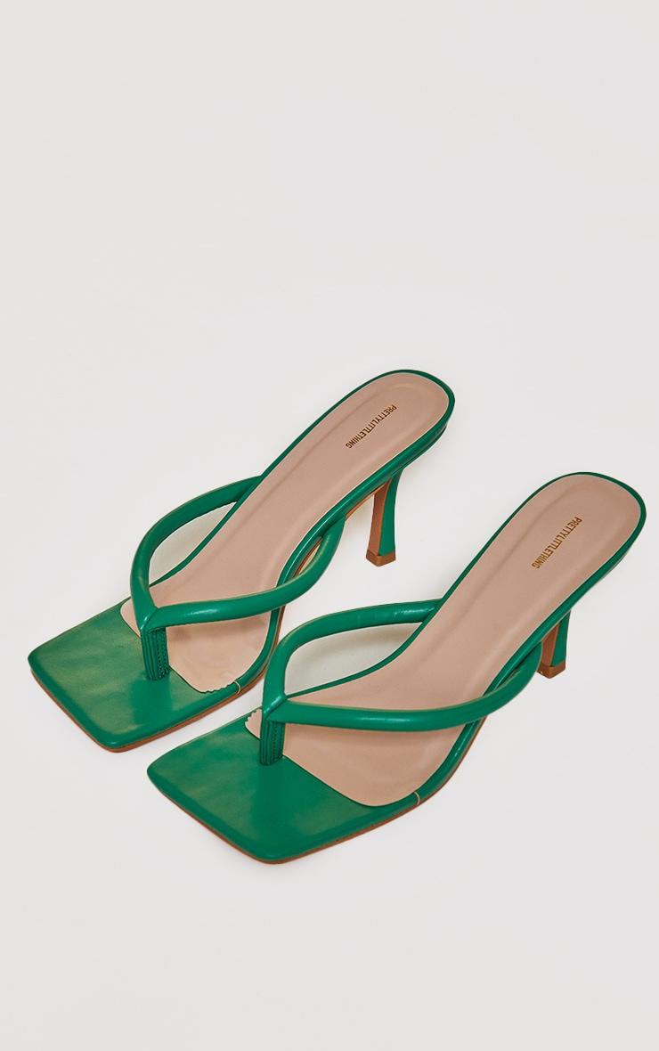 Green PU Toe Thong Low Heel Mules 4