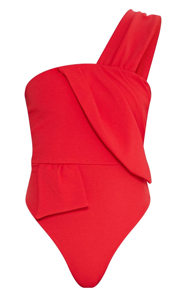 Red One Shoulder Origami Detail Thong Bodysuit 3