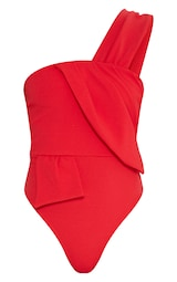 Red One Shoulder Origami Detail Thong Bodysuit image 3 4db1d2240