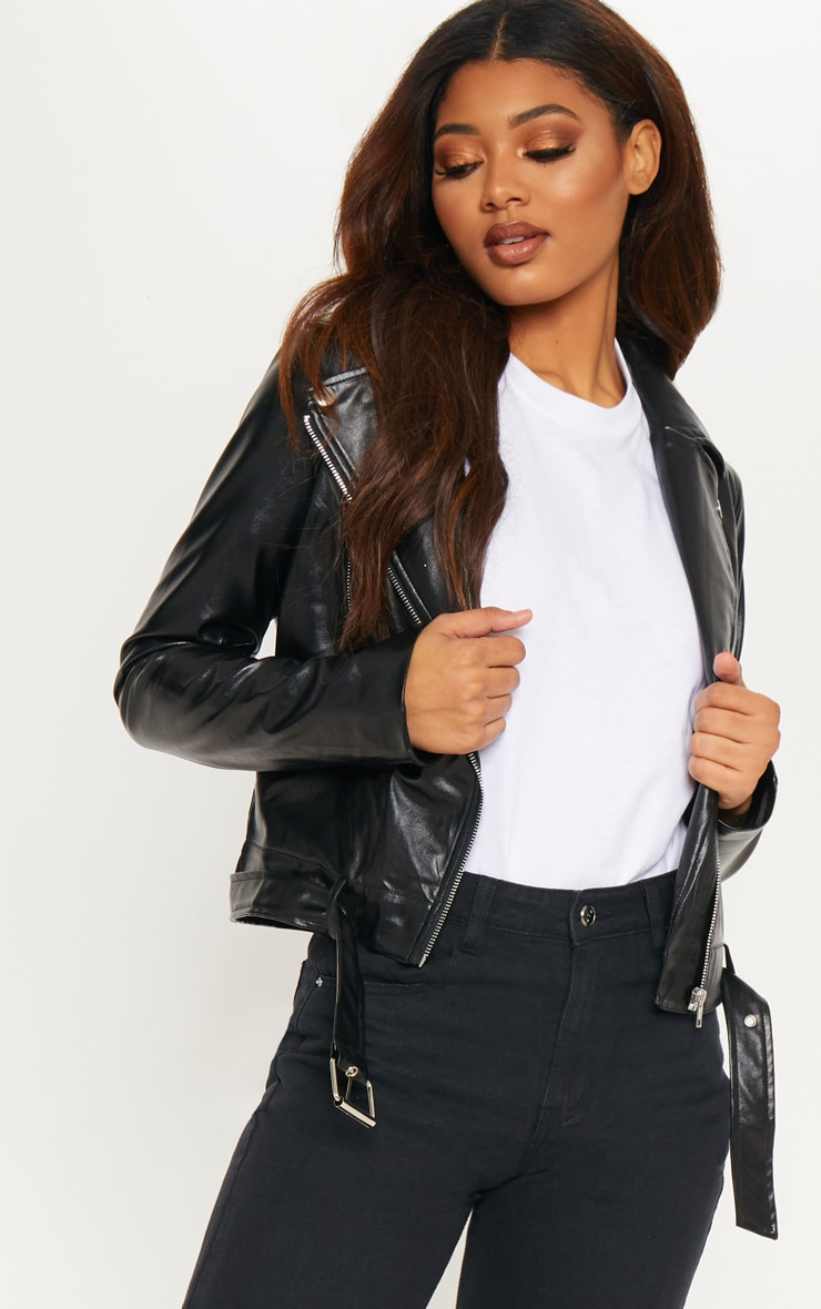 Tall Black Faux Leather Biker Jacket 1