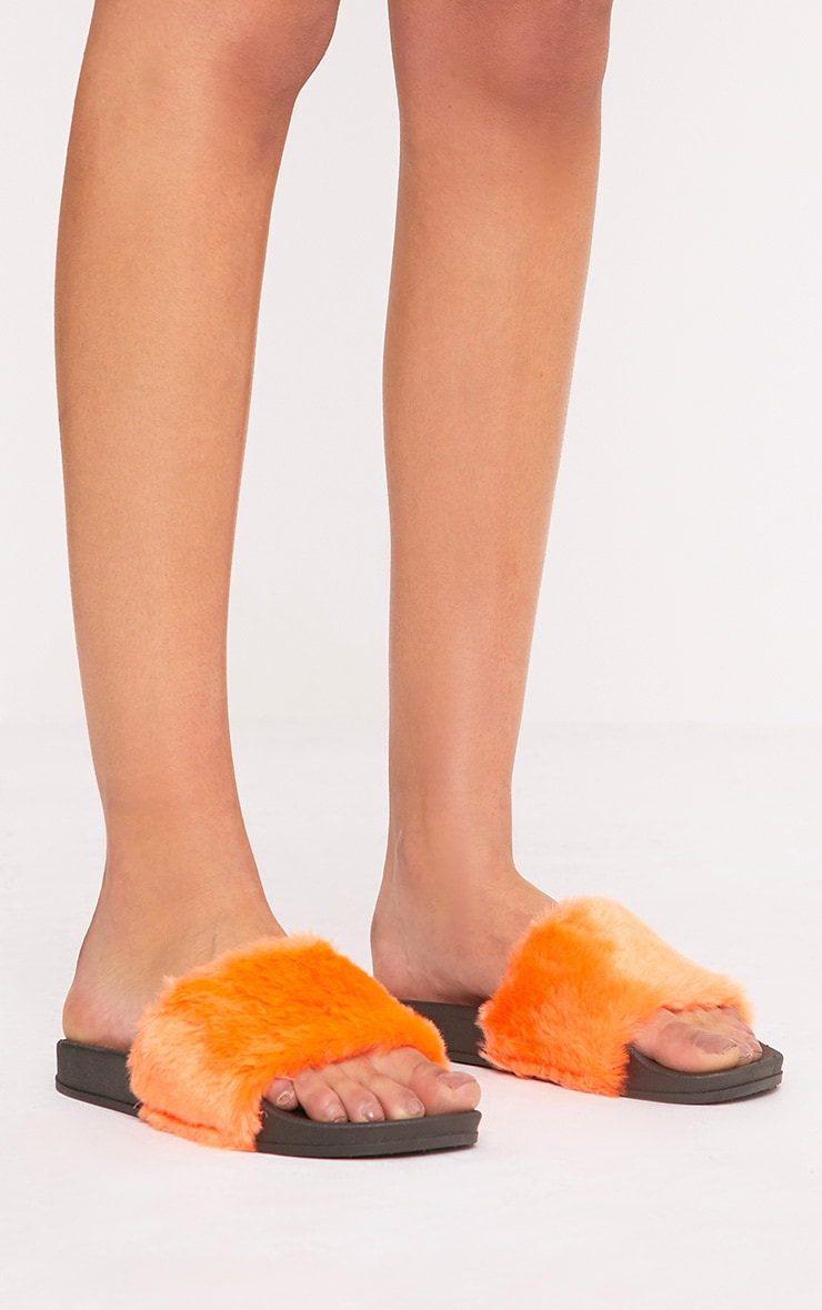 Emeline Orange Fluffy Sliders 2