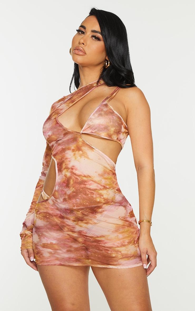 Shape Pink Tie Dye Sheer Mesh Cut Out One Sleeve Bodycon Dress 1