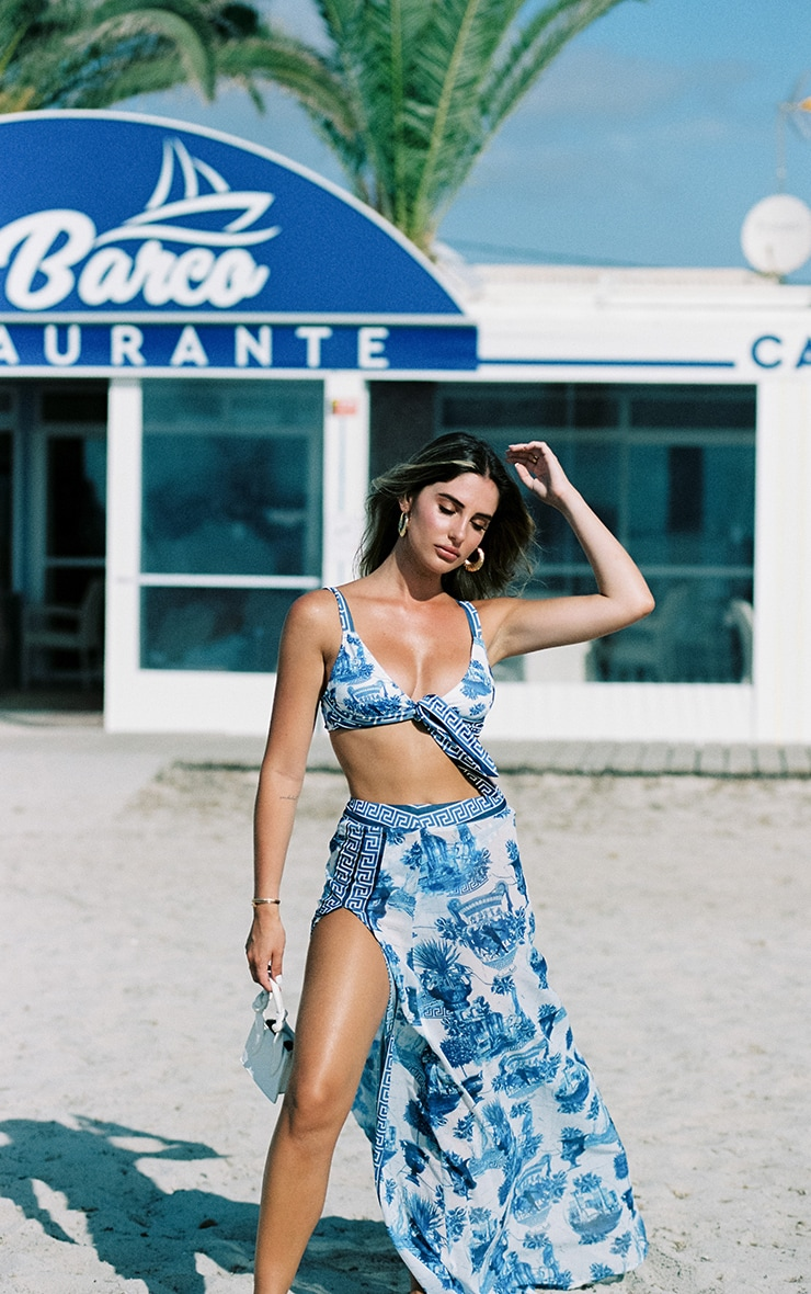 Blue Greek Key Print Split Beach Skirt